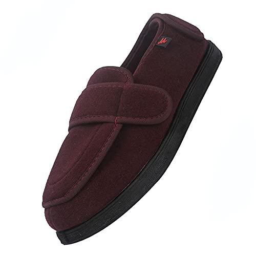 Zapato Suela de Goma Muy Flexible,zapatillas ajustables, cierre de velcro, sandalias, pies anchos abiertos, zapatillas para ancianos,Jujube red-41 ✅