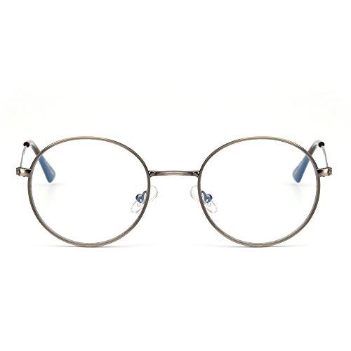 JIM HALO Anti Luz Azul Redondas Gafas de Lectura Vintage Metal Círculo Marco Computadora Juego Anteojos para Hombre Mujer(Plateado/Claro)