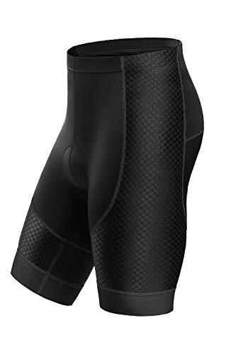 Letook Pantalones Cortos Ciclismo para Hombres Bicicleta Traspirable con Gel Acolchado Anti-UV y Cómodo(Negro&Gris,XL)