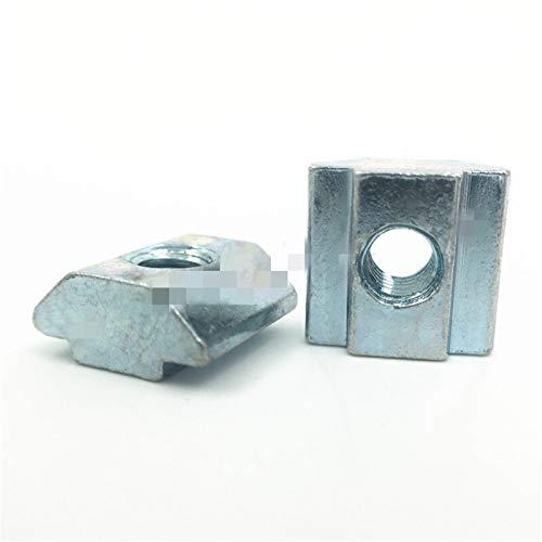 Tuerca de acero inoxidable 50 piezas/lote T deslizante bloque de tuerca martillo de ranura tuerca cuadrada perfil M5 tuerca de aluminio 6 Accesorios hoja de aluminio galvanizado Para uso diario e in