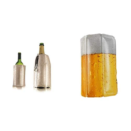 Vacu Vin 3887560 Enfriador Rápido Para Botellas De Vino Y Cava, Plateado + Active Beer Cooler Enfriador Para Latas O Botellín, Blanco/Amarillo, Centimeters