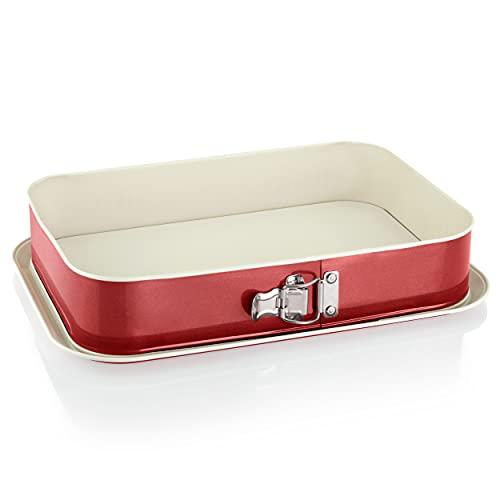 Grizzly Springform, eckige Backform 35x24 cm, Rot-Creme, mit Auslaufschutz, Antihaftbeschichtet, große, hohe rechteckige Kuchenform