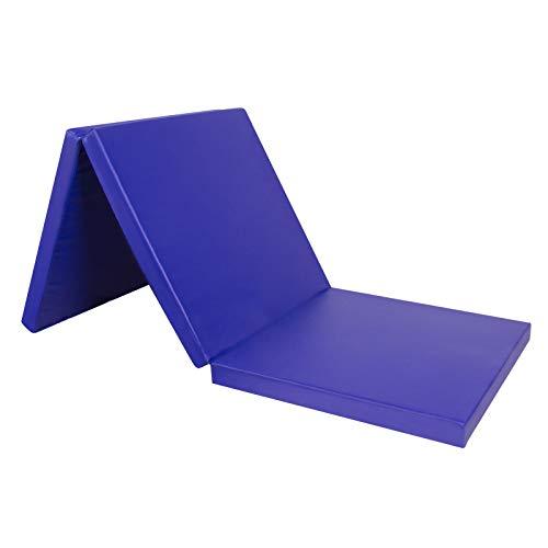 CCLIFE Tappetino Pieghevole Ginnastica 3 Pieghe,con Maniglie,180 * 60 * 5 cm materassino Pieghevole Fitness e Yoga, Colore:Blu