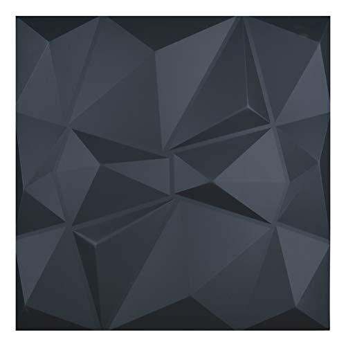 Art3d 3D Lederfliesen Decoartive 3D Wandpaneele, Black Diamond 59,9 x 59,9 cm (6 Stück)