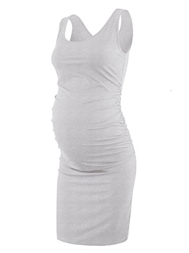 Liu & Qu Women's Maternity Sleeveless Tank Dresses Side Ruching Bodycon Dress for Daily Wearing or Baby Shower Grey Small