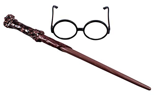 Disguise Harry Potter Accessories Set, Costume Wand and Glasses Kit Black & Brown, Childrens Size