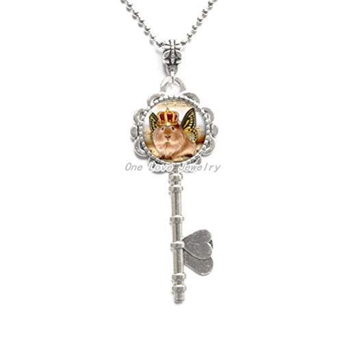 Ni36uo0qitian0ozaap Collares de llave de cerdo, pequeños collares de llave de animales peludos de cristal de la foto de las alas de la mariposa de la joyería de la moda de los collares de la l