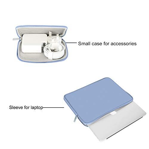 MOSISO Laptop Sleeve Kompatibel mit 13-13,3 Zoll MacBook Pro, MacBook Air, Notebook Computer, Wasserabweisend Neopren Tasche mit Klein Fall, Serenity Blau