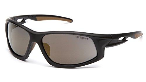 Carhartt Ironside Safety Glasses, Retail Clamshell Packaging, Black/Tan Frame, Antique Mirror Anti-Fog Lens
