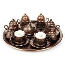 Teekannen Kupfer osmanischen türkischen arabischen Tee Kaffee Espresso Tassen Becher Set - 6 Stück Tassen Saucen mit Tablett, Zuckerdose Made in Turkey Geschenk-Box