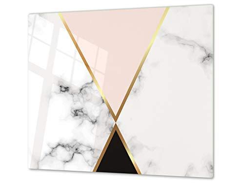 Tabla de cortar decorativa de cristal templado y cubre vitro – Dos en Uno – Resistente a golpes y arañazos – UNA PIEZA (60 x 52 cm) o DOS PIEZAS (30 x 52 cm); D10A Serie Texturas A: Mármol