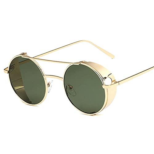 XDOUBAO Gafas de sol Gafas de sol punk, gafas de sol circulares retro, hombres y mujeres gafas gafas de sol-Marco de oro