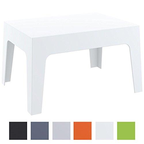 CLP Gartentisch Box aus Kunststoff I Stapelbarer Beistelltisch mit Einer Höhe von: 43 cm I Wetterfester Outdoor-Tisch I verfügbar Weiß