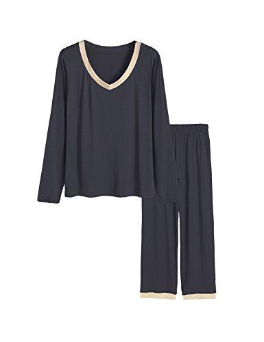 XINGONGCHENG Women's V-Neck Sleepwear Short Sleeves Pajama Set With Pants (Gray, M)