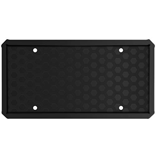 License Plate Frame - ONE PIX Silicone License Plate Covers Holders Rust-Proof/Rattle-Proof/Weather-Proof for Car License Plate - Black