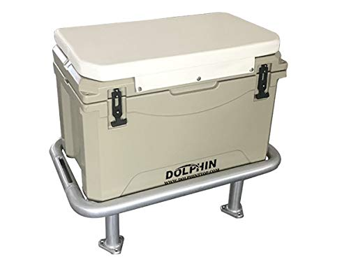 "DOLPHIN Fishing Boat Leaning Post Ice Chest Rack and Seat Cooler. Anodized Aluminum Frame, 85QT (80L) Rotomold Double Walled Ice Chest/Dry Box with Snap On Seat Cushion- Cooler Dim: 25.6""x 16.5""x 15"""