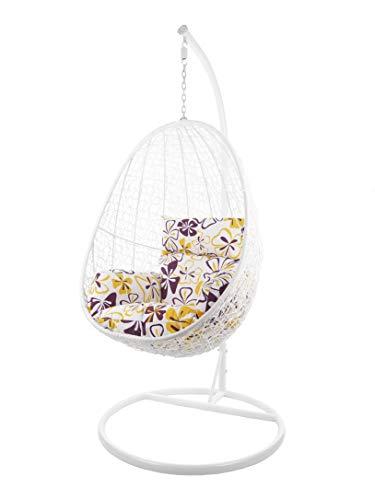 Kideo® Komplettset: Hängesessel mit Gestell & Kissen, Indoor & Outdoor, Poly-Rattan (Gestell- und Korbfarbe: weiß, Kissen: Blumenmuster Nest (1085_Flower_Love))