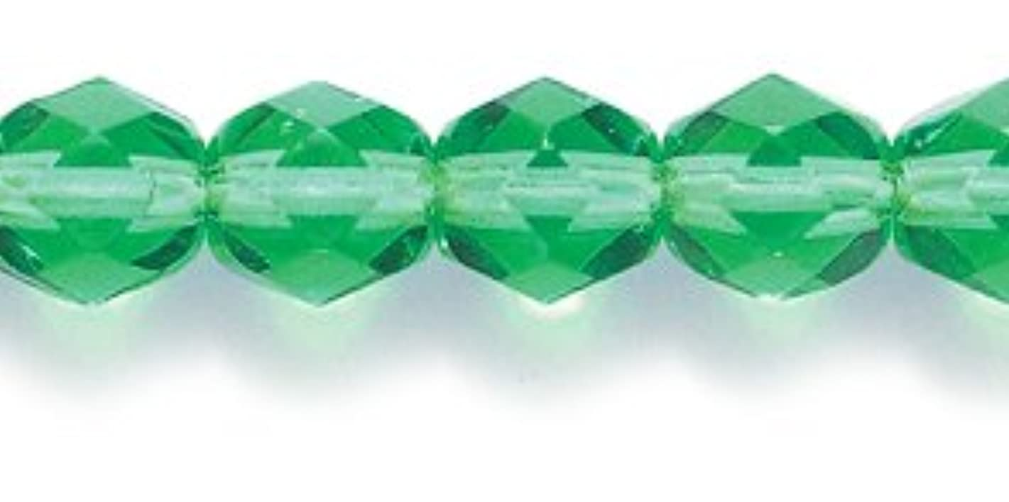 Preciosa Czech Fire 6 mm Faceted Round Polished Glass Bead, Christmas Green, 250-Pack