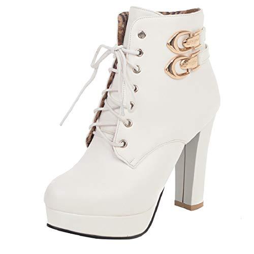LUXMAX Damen Plateau High Heels Blockabsatz Stiefeletten mit Schnürung 10cm Absatz Schuhe(Weiß,37)