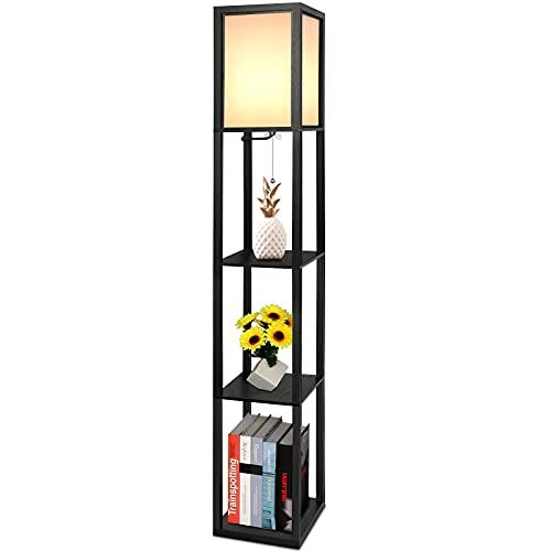 Lampada con piantana, 1.6m di altezza,Moderna Lampada a stelo con scaffale, con tre Ripiani in legno,Lampada da terra in legno per corridoi soggiorno camera da letto,Presa E27(lampadina non inclusa)