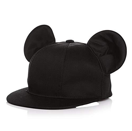 キッズ キャップ コットン黒50 子供 ?マウス 耳?付?き ?帽?子 ?か?わ?い?い ?黒ブラック マスキングテープ1個付