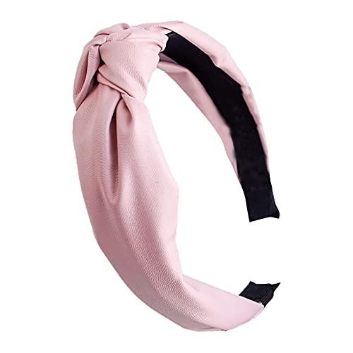 osyare Aro para el pelo, aro de pelo diario, elegante color puro, nudo de pelo, banda para el estudiante rosa