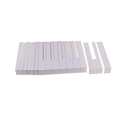 MooKe 52 Stück Klavier Keytops Simulierte Elfenbein für Ersetzen Key Top Piano Zubehör Neue Auswechseln der Verschleißschlüssel Tops,51mm