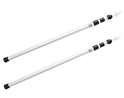 アルミテントポール タープポール 2本セット 伸縮式 長さ調整簡単 スライド式 軽量 (シルバー)