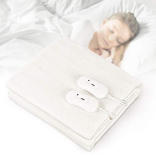 Todeco – Topper riscaldante, scalda letto, coperta elettrica per letto matrimoniale con 3 livelli di temperatura, protezione contro il surriscaldamento, 160 x 140 cm, colore: bianco
