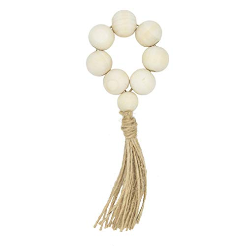 Kshcf 4 Pcs Garland Napkin Rings Wooden Bead Rustic Door Knob Handle with Tassels Table Decoration,White (Style one),17cm
