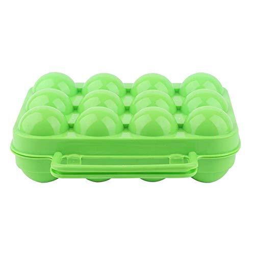 ZXD Double Side Plastikeier-Halter-Behälter 12 Grids Egg Kühlschrank Container-Speicher-Organisator Außen Egg Storage Box of Eggs,Grün
