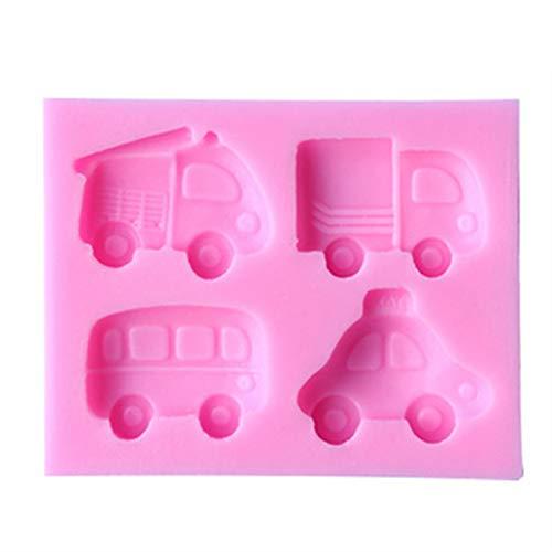SMXGF DIY Pink Backen Kuchenform Doppelzucker Werkzeuge Flüssiges Silikon Formen Cartoon Auto Bus Schokolade HandgemachteForm