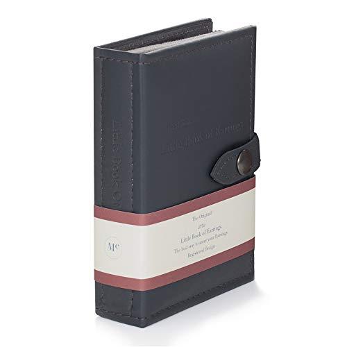 Schmuckschatulle für Ohrringe - Little Kleine Buch der Ohrringe - Hält 12 Paar Ohrringe auf 2 Seiten -Grau