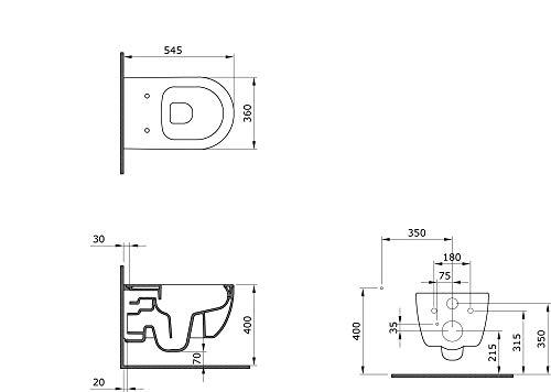 Design Hänge WC Spülrandlos Toilette inkl. WC Sitz mit Softclose Absenkautomatik + abnehmbar SSWW - 2