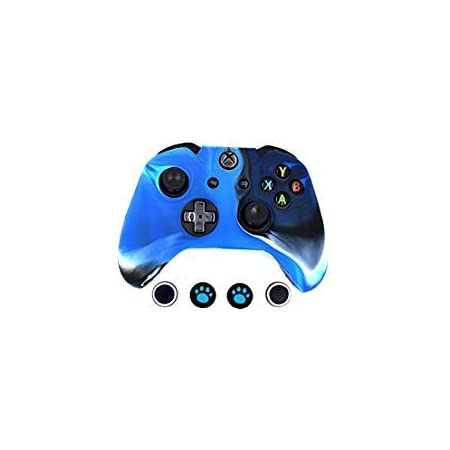 Camouflage Blue Taifond Anti-Slip Silicone Controller Cover Protective Skins for Microsoft Xbox One S /& One X Controller with Two Thumb Grip Caps