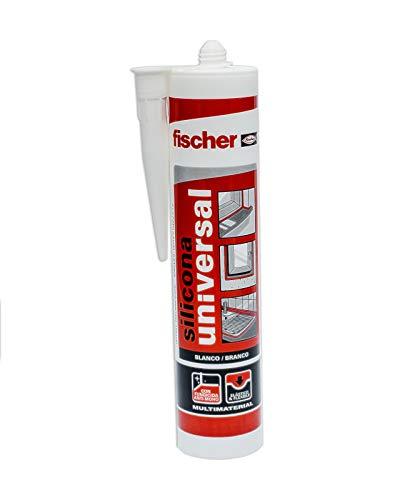 fischer – Silicona Universal Blanco (tubo de 300 ml) multifunción, adherencia en multitud de materiales de construcción, para juntas que están en contacto frecuente con el agua