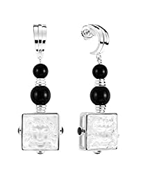 Crystal Arethuse Earrings Silver and Onyx