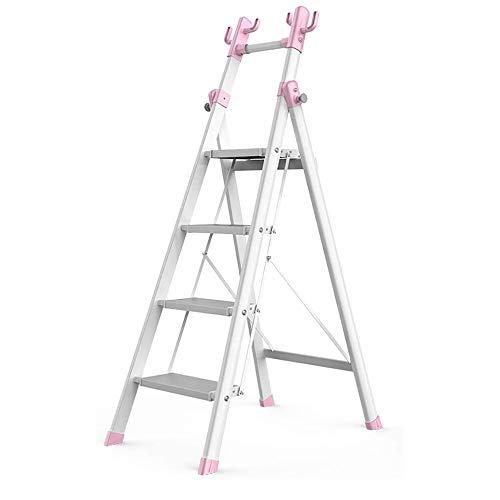 COUYY Escaleras de Oficina pequeñas, Escalera de Cuatro Pasos de Dos Camas de Aluminio, Escalera Plegable, Carcasa de Color de Color, Soporte Multifuncional, Peso Ligero