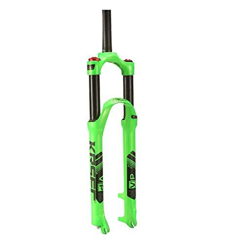 BIKERISK MTB della Bicicletta della Forcella della Sospensione 26 27,5 29 Pollici Manuale di Mountain Bike Aria Forcella Corsa di bloccaggio del Freno a Disco 120 Millimetri 1-1/8',Verde,27.5''
