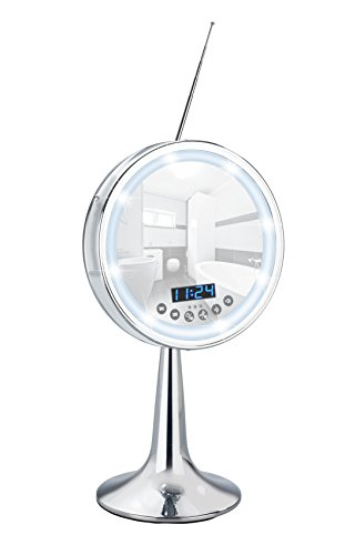 WENKO LED Kosmetik-Standspiegel Imperial - 3-fach Vergrößerung, mit Bluetooth Funktion, USB-Port und Mikrofon, Spiegelfläche ø 16,5 cm 500 % Vergrößerung, Stahl, 21 x 37 x 15.5 cm, Chrom