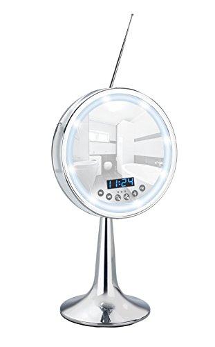 Wenko 21820100 LED Kosmetik-Standspiegel Imperial - 3-fach Vergrößerung, mit Bluetooth Funktion, USB-Port und Mikrofon, Spiegelfläche ø 16,5 cm 500% Vergrößerung, Stahl, 21 x 37 x 15,5 cm