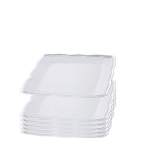 Plastic Serving Tray  Disposable Heavyweight Serving Party Platters 6 Pack 12 x 12 White Square Serving Trays With Silver Rim Border - Posh Setting