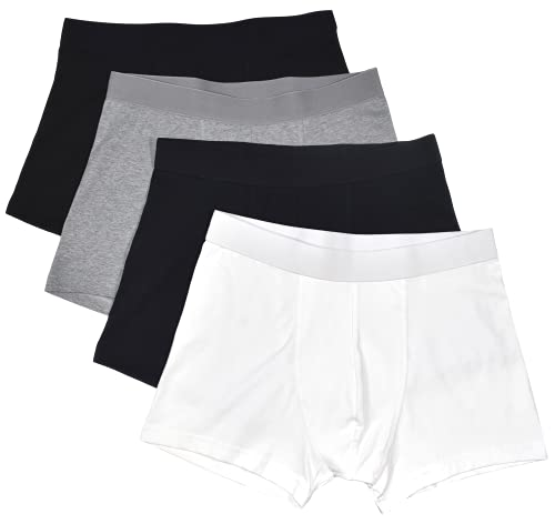 Bread and Boxers Men's 4 Pack Boxer Briefs (White/Black/Grey/Navy) Small