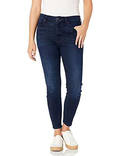 7 For All Mankind Women's Ankle Skinny High Rise Jeans, Blue/Black Santorini, 27