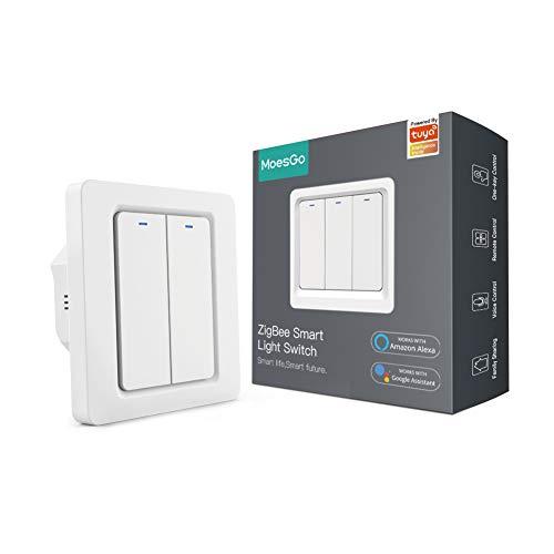 MoesGo Tuya Zigbee pulsador Interruptor inteligente de pared con cable neutro, 1 o 2 vías control múltiple asociaciones, compatible con las Smart Life/Tuya, Alexa y Google Home 2 Gang