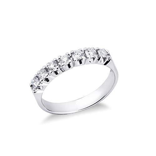 Gioielli di Valenza - Anello veretta a sette pietre in Oro bianco 18k con Diamanti ct. 0,50 - FE7RA050BB - 9