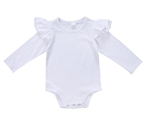 Infant Baby Girls Long Sleeve Bodysuit Romper Ruffle Fly Sleeve Triangle Cotton Jumpsuit (100(12-18M), Solid White)
