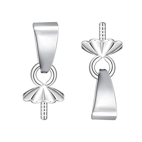 BENECREAT 10 PCS Ojo Tornillo de 925 Plata Auténtica Pin de Perla Conector de Colgante Accesorios para Fabricación de Collar Pendiente