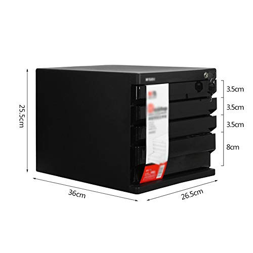 Chengzuoqing Speichermodul Desktop-Aktenschrank Aufbewahrungsbox Schreibtisch Organizer-Fach mit Schloss for Office Business für Büro, Home Office (Color : Black, Size : 4 Layer)