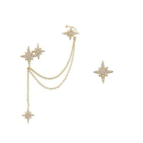 ZFLSGWZ Pendientes Hexágono Hexagonal Pendientes de Cadena de Estrella Larga Pendientes Pendientes Helix Oreja Piercing Pendientes para Mujeres Joyería